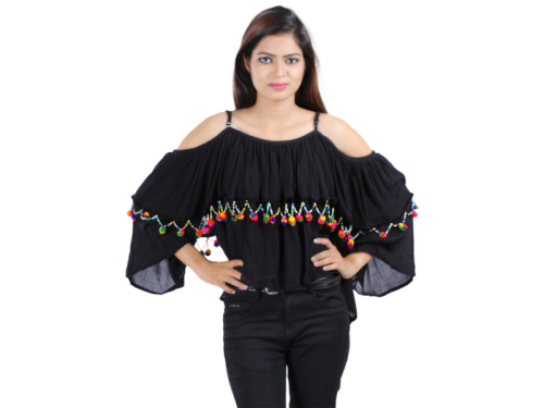 Beads Lace Layered Black Crop Top