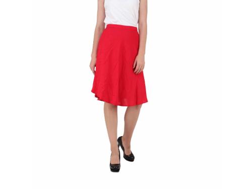 Button Clouser Zipper A-Line Red Skirt