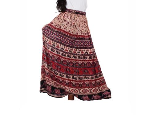 Flared Long Multicolor Skirt