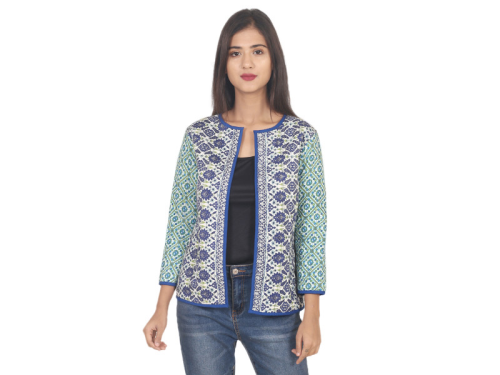 Floral Print Multicolor Reversible Quilted Jacket