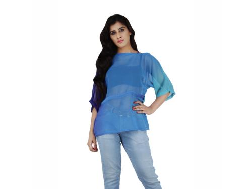 Georgette Tie-Dye Cord Fitted Blouson Blue Top
