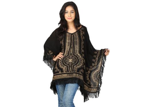 Women Rayon Black Gold Print Kaftan
