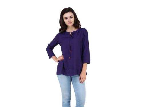 Women Rayon Plain Tunic Top
