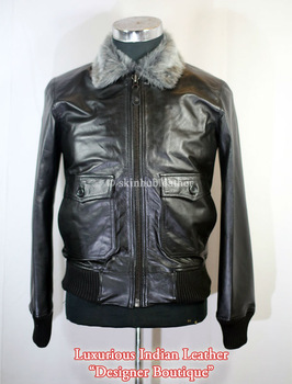 mens army bomber jacket with fur collar Black leather