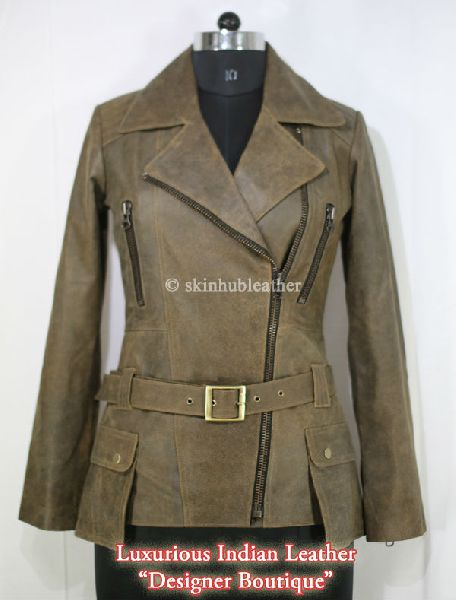 womens brown antique sheep leather classic double breasted coat