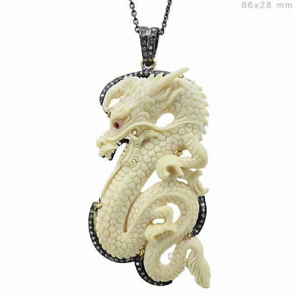 Carved Bone Diamond Dragon Pendant Manufacturer In Punjab India By Gemco International Id 4772701