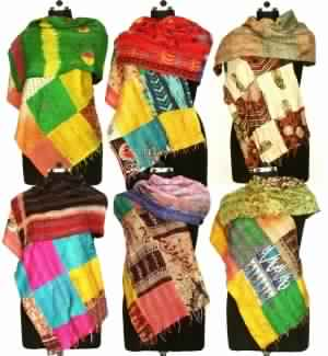 Mix Of vintage kantha handmade shawls