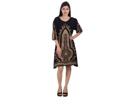 Womens Rayon Gold Print Black A-line Knee Long Dress