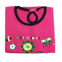PRINCESS PINK BEAUTY FLOWERS PRINTED T-SHIRT