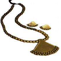 TERRACOTTA PENDANT and EAR HANGINGS GOLDEN JEWELRY SET