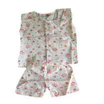 WHITE NEWBORN FRONT OPEN PRINTED SHIRT and SHORT SET