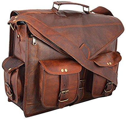 Handmade real goat leather messenger laptop briefcase leather bag