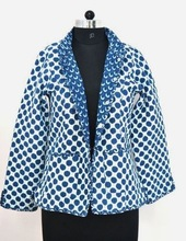 Women Short Quilted Indigo Jacket