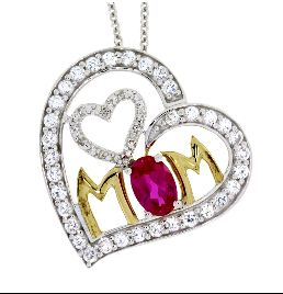 Sterling Silver & Ruby Diamond Heart Love Pendant (CL29)