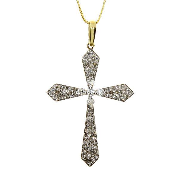 .33 Ct Diamond & 10KT Yellow Gold Cross Religious Pendant (CL399)
