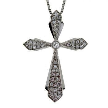 .13ct Diamond & 18KT White Gold Cross Religious Pendant (CL219)