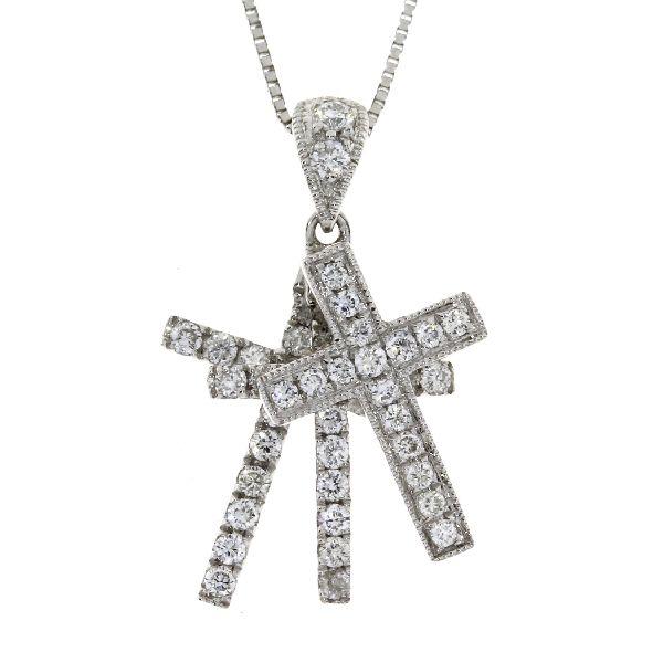 .33 Ct Diamond & 18KT White Gold Cross Religious Pendant (CL769)