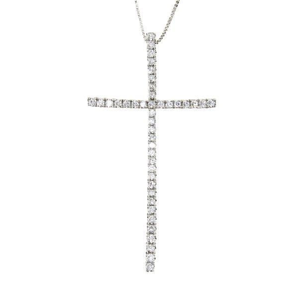 .33 Ct Diamond & 18KT White Gold Cross Religious Pendant 02 (CL649)
