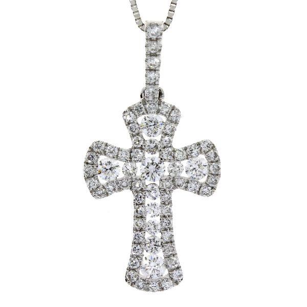 .38 Ct Diamond & 18KT White Gold Cross Religious Pendant (CL799)