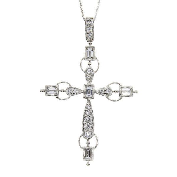 .50ct Diamond & 18KT White Gold Cross Religious Pendant (CL995)