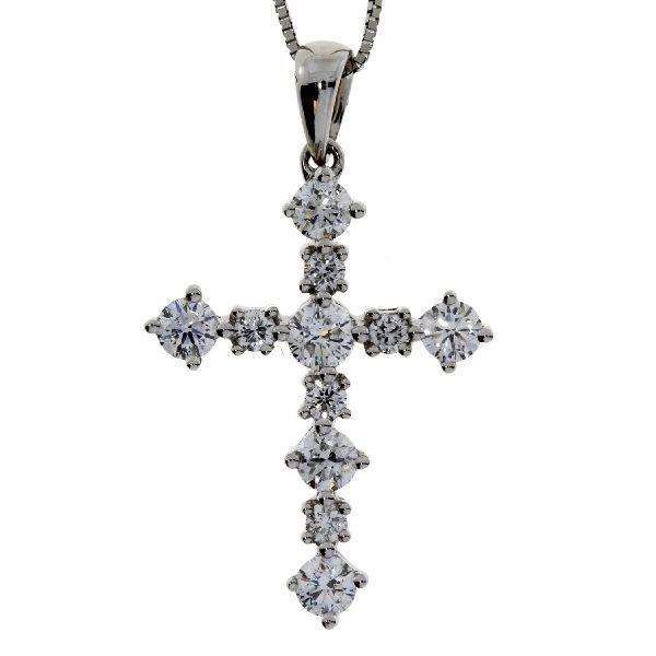 .63 Ct Diamond & 18KT White Gold Cross Religious Pendant (CL1299)