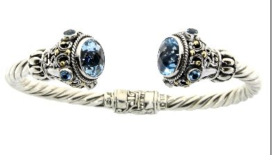 Sterling Silver Blue Topaz Bangle Bracelet (CL209)