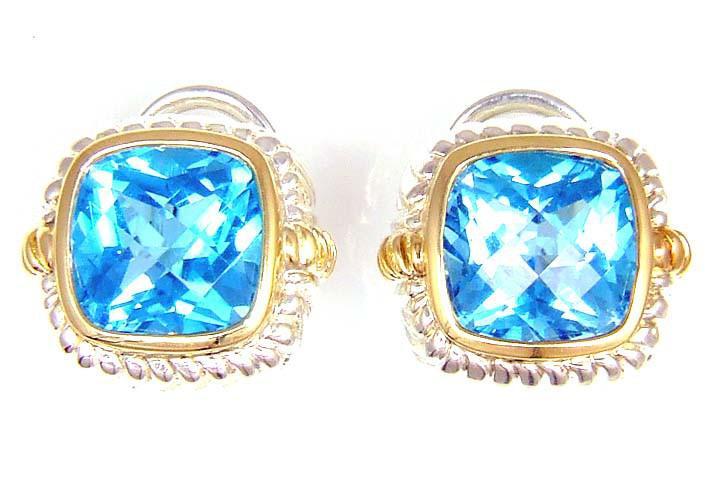Sterling Silver Blue Topaz Stud Earrings (CL569)