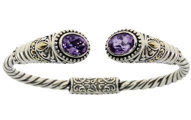 Sterling Silver Amethyst Bangle Bracelet (CL159)