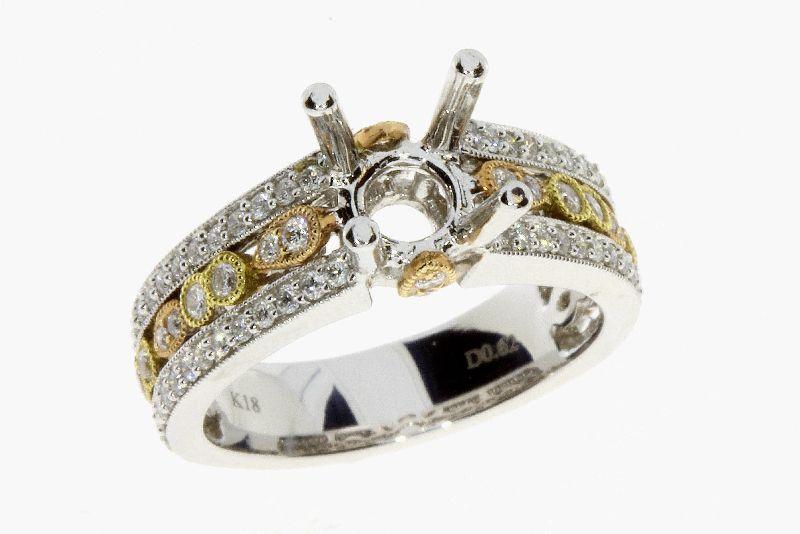 0.62 Ct. Diamond & 18KT 2 Tone Gold Semi Mount Ring (CL1799)