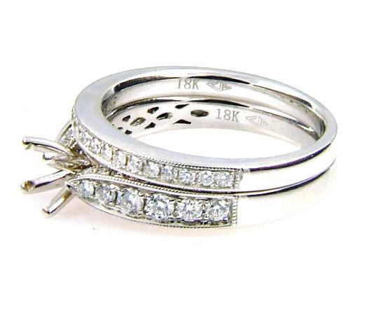 0.75  Diamond & 18KT White Gold Semi Mount Ring (CL1875)
