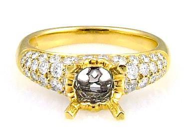 1.00 Ct. Diamond & 18KT Yellow Gold Semi Mount Ring (CL1389)