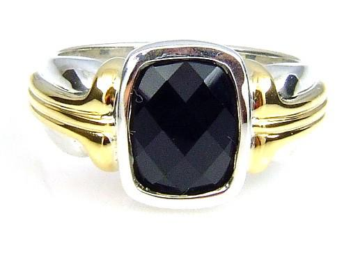 Sterling Silver Genuine Onyx Ring (CL325)
