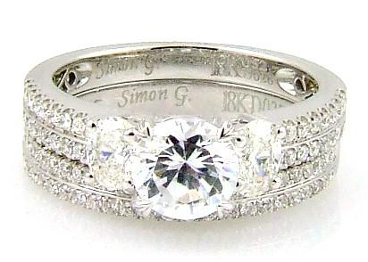 1.05 Ct. Diamond & 18KT White Gold Engagement Ring Set (CL3495)