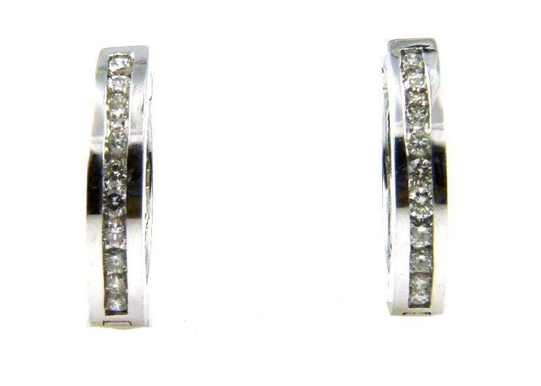 White Gold & Diamond Hoop Earrings (CL949)