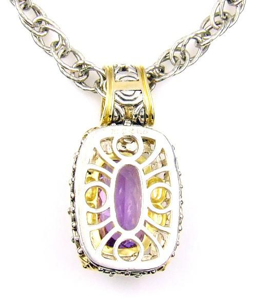Sterling Silver Natural Amethyst Pendant (CL689)