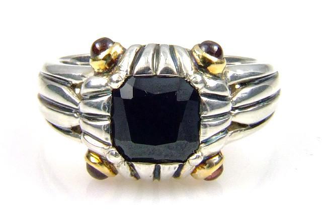 Sterling Silver Onyx Rhodolite Garnet Ring (CL109)