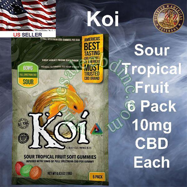 KOI CBD Sour Tropical Fruit 6 Pack 10mg