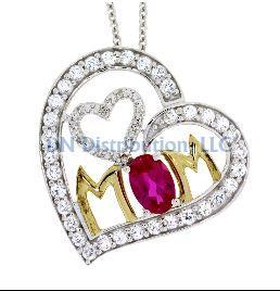 Sterling Silver & Ruby Diamond Heart Love Pendant (CL29)