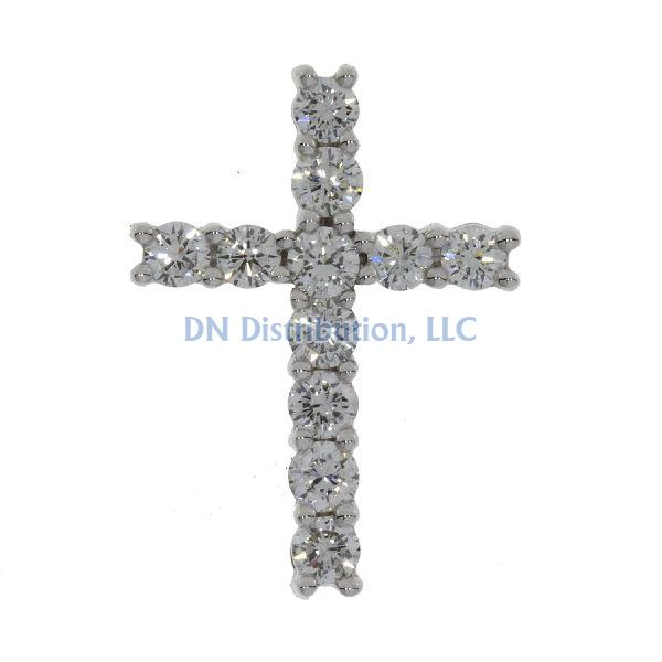 1.00ct Diamond & 18KT White Gold Cross Religious Pendant (CL649)