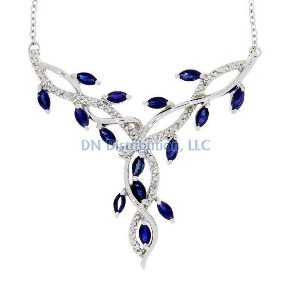 Sapphire Diamond & White Gold Flower Necklace (CL390)