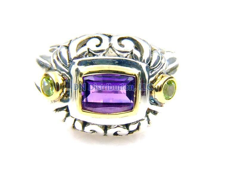 Sterling Silver Amethyst Peridot Ring (CL229)