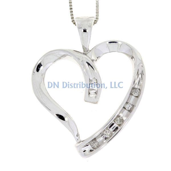 White Gold & Diamond Heart Love Pendant (CL128)