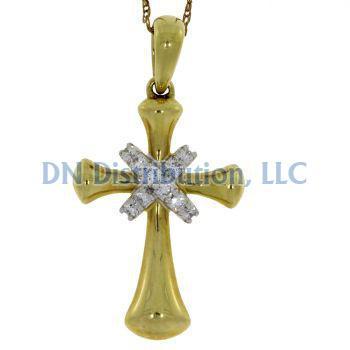.12 Ct Diamond & 18KT Yellow Gold Cross Religious Pendant (CL259)