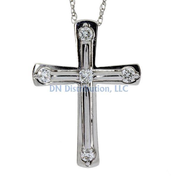 .17ct Diamond & 18KT White Gold Cross Religious Pendant (CL399)