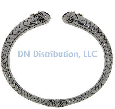 Garnet & Sterling Silver Bangle Bracelet (CL160)