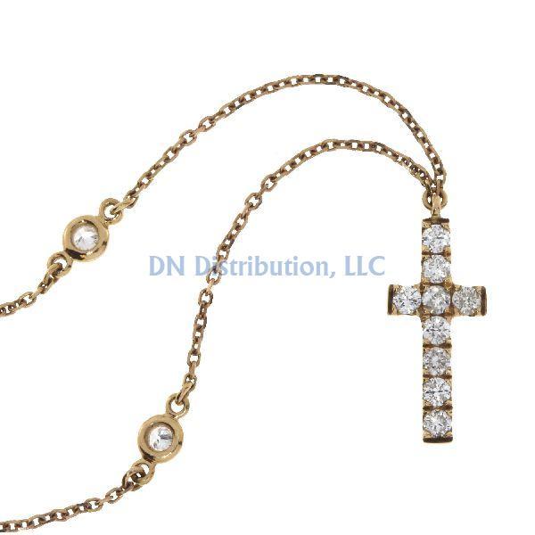 .20 Ct Diamond & 18KT Rose Gold Cross Religious Pendant (CL499)