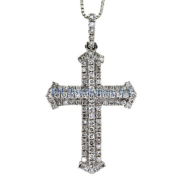 .33 Ct Diamond & 18KT White Gold Cross Religious Pendant 01 (CL779)