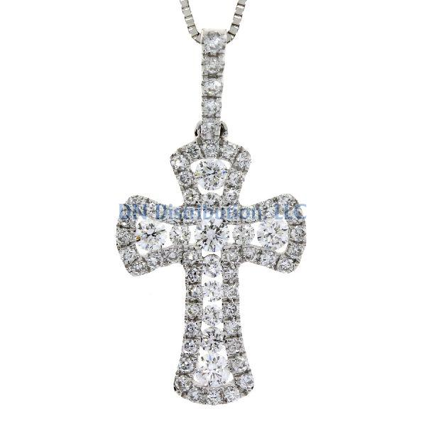.38 Ct Diamond & 18KT White Gold Cross Religious Pendant (CL799)