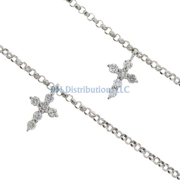 .40ct Diamond & 18K White Gold Cross Religious Pendant (CL995)