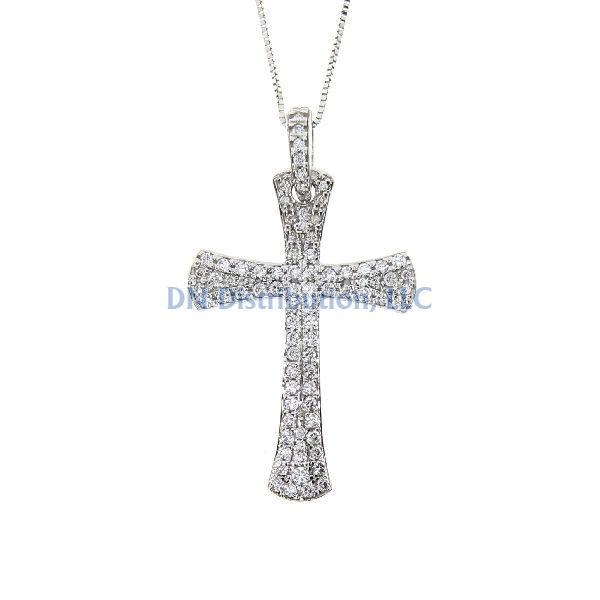 .63 Ct. Diamond & 14KT White Gold Cross Religious Pendant (CL799)